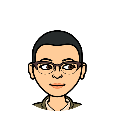 Cartoon-style Bitmoji avatar that looks like Alejandra with short dark hair and glasses shows a face smiling slightly with both eyes looking to the right.