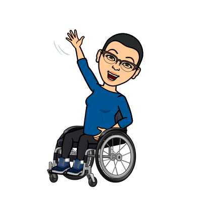 Cartoon-style Bitmoji avatar that looks like Alejandra, smiling and waving while sitting in a manual wheelchair, with short dark hair and glasses, wearing a long sleeved blue top, black pants and sneakers.
